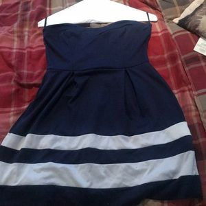 Dresses & Skirts - Blue and white cocktail dress strapless